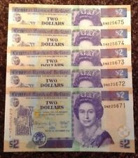 Lot Of 5 X Belize Banknotes. Two Dollars. Queens Image. Unc. Consecutive Serials
