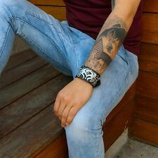Mens Black Leather Band Punk Mini Skulls Gothic Biker Bracelet Wristband