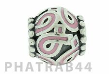 Authentic Retired Pandora Silver Pink Ribbon Breast Cancer Bead 790755EN24