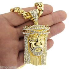 """Heavy Jesus Chain Solid Chunky Pendant Gold Finish Hip Hop Cuban Necklace 30"""" In"""