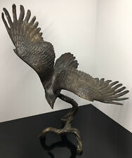 Solid Bronze Soaring Eagle Sculpture Ronald Van Ruyckevelt Metalware Art