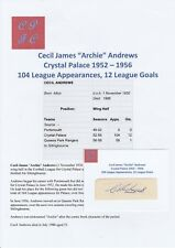 ARCHIE ANDREWS CRYSTAL PALACE 1952-56 RARE ORIGINAL HAND SIGNED CUTTING/CARD