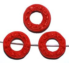 China Lackperle Chinalack Cinnabar rot Ring 20 mm, 1 Stück