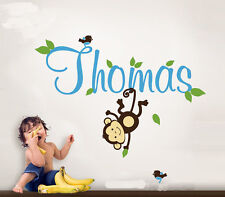 Wide 100cm Monkey & Baby Name Nature Vinyl Wall Paper Decal Art Sticker Q486-1