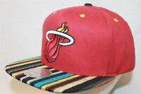 "Miami Heat Mitchell and Ness NBA Snapback Hat Cap ""The Native Stripe Red"""