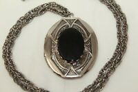 "Gorgeous Vintage Silvertone Jet Black Glass Oval Locket Pendant 24"" Necklace A#"