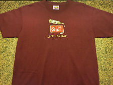 "Life is crap adult t-shirt m ""out of wine"" red short sleeve 100% cotton"