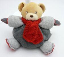 KALOO-DOUDOU BOULE-OURS-Polaire gris et écharpe rouge laine-neuf-19 cm.