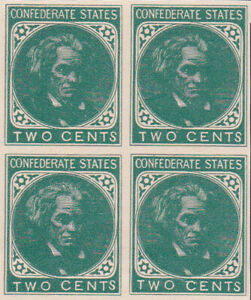 Confederate PP1 Block of Four Two Cent Stamp Printed from Original Plates