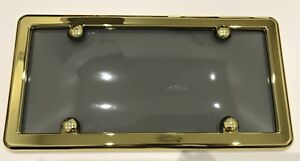 UNBREAKABLE Tinted Smoke License Plate Shield Cover + GOLD Frame for HINO
