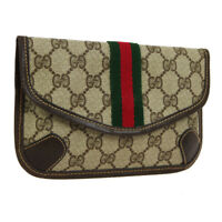Auth GUCCI GG Shelly Line Mini Clutch Hand Bag Pouch Brown PVC Leather WA00448