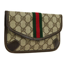 GUCCI GG Shelly Line Mini Clutch Hand Bag Pouch Brown PVC Leather WA00604i