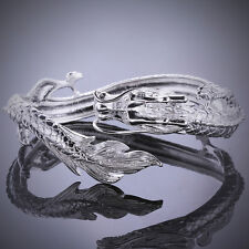 Fashion Cool 925Sterling Silver China Dragon Women Men Cuff Bracelet GB222