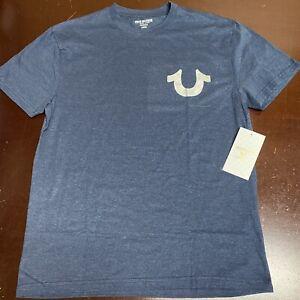 True Religion Men's Blue Silver Metallic Horseshoe Tee T-shirt Large
