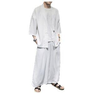 Mens Kimono Cardigan Jacket Chinese Style Wide Leg Pants Tops Set 2Pcs Summer