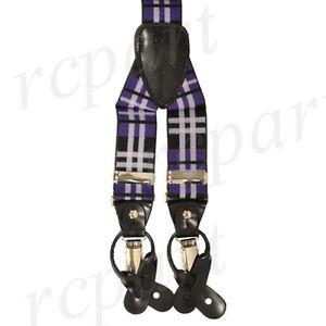 New in box Men's Suspender Braces Elastic Strap plaid & Checkers Purple