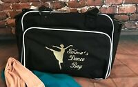 Personalised Embroidered Ballerina Name Black Pink Purple Ballet Dance Bag Gift