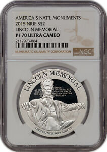 2015 AMERICA'S NAT'L MONUMENTS NIUE S$2 LINCOLN MEMORIAL NGC PF 70 UC FINEST **
