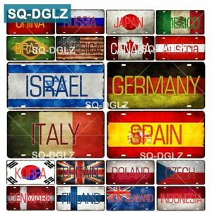 Country Flag Plate Metal Bar Vintage Wall Plaques Tin Sign Truck Home Decoration