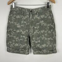 Gap Mens Shorts 30 Green Digital Camouflage Zip Closure Bermuda