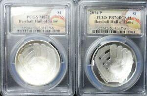 Lot (2) 2014-P Baseball Hall of Fame Silver Dollars $1 PCGS PR70 DCAM & MS70