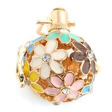 Gold/Silver Enamel Flower Locket Ball Pendant Essential Oil Diffuser Necklace