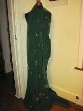 Sari Saree Vintage 1970S Sequinned Verde Bordado Genuine Indian