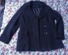 NEXT Black Wool blended thick luxury Double Breasted Pea Coat Woman UK 12 EU 40