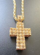 Swan SIGNED SWAROVSKI  Gold tone NECKLACE & CROSS Pendant, Thick Chain RARE