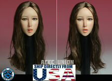 1/6 Female Head Sculpt with Tongue Long Brown Hair For HotToys Phicen Figure USA