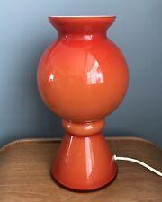 Vintage Orange White Cased Glass Mushroom Table Lamp Prova Thorn Style 1960s 70s