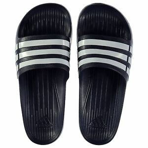 NEW Adidas Mens Duramo Sliders Flip Flops Navy/White  SIZE FROM 6-17