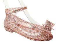 GIRLS PINK GLITTER JELLY SUMMER BEACH HOLIDAY LOW HEEL SANDALS SHOES SIZE 10-2