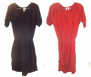 Sz M - Route 66 Short Sleeve Cotton Blend Dresses w/Rope Belts in Red or Black