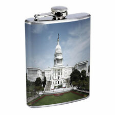 Washington D.C. D4 Flask 8oz Stainless Steel Hip Drinking Whiskey Monuments