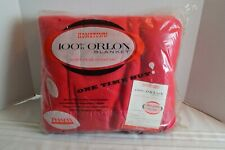 "Acrylic Orlon Blanket Red DuPont Twin Full Nylon Trim 72""x 84"" New Vintage"