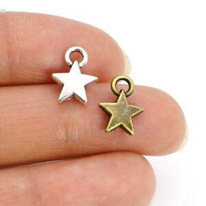 40Ps Silver Star Charms Pendants Jewelry Making Necklace Bracelet Earrings DIY
