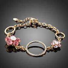 Sparkly Shiny Pink Austria Crystal Round Circle 14k Gold Plated Flower Bracelet