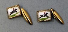 Vintage Gold Gilt Jockey Theme Cuff Links Collectable Shirt Accessory Gift Idea