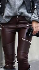 Zara Faux Leather Mid Rise Trousers for Women
