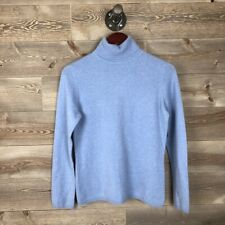 Charter Club Women Medium Light Blue Turtleneck 2 ply Cashmere Pullover Sweater