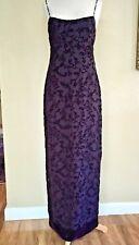 Kay Unger Purple Beaded Velvet Chiffon Evening Gown Sheath Dress Beaded SZ 6