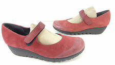 Women's Munro American Alpine Mary Jane Wedge Suede Shoes Burgundy Size 8.5 M