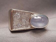 1960s Men's Modernist 14K White Gold Pinky Ring  Moonstone & 3 Diamonds - Size 7