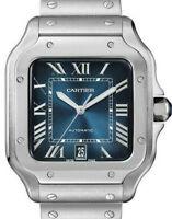 Cartier NEW Santos Steel Graduated Blue Dial Large Mens Watch 4072 WSSA0030