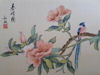 """Peinture sur soie asiatique signé """"Oiseau sur branche fleuri"""" Fin XIXème"""