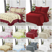 Embossed Bedspread Quilted Bed Throw Comforter Bedding Set Single Double King