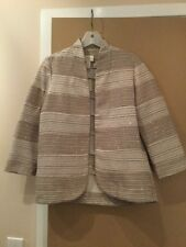 CHICO'S NWT JACKET SEQUINS TEXTURE SZ 0 (4-6) BEIGE AND WHITE OPEN FRONT