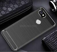 For Google Pixel 2 XL Carbon Fibre Gel Case Cover & Glass Screen Protector