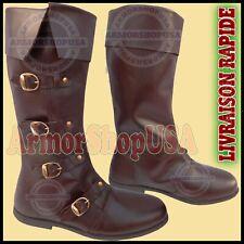 Médiéval Bottes en cuir marron reenactment Homme Chaussure shoes Steampunk boots